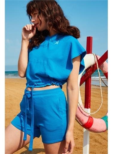 Latin Quarter Deniz Yıldızı Motifli Kapüşonlu Şort Takım Mavi